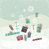 Vintage Christmas card with gifts and snowflakes. Vector illustration. Greeting card Royalty Free Stock Photos