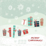 Vintage Christmas card with gifts and snowflakes. Vector illustration. Greeting card Royalty Free Stock Photo
