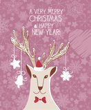 Vintage christmas card with hipster deer and snowflakes. Poster. Happy New year. Stock Images