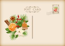 Vintage Christmas Card. Vintage  card with holiday composition of the Christmas decorations Stock Images