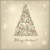 Vintage christmas card with holiday tree Stock Images