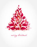 Vintage christmas card with holiday tree on the fl royalty free illustration