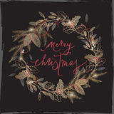 Vintage Christmas card with lettering, mistletoe, pine, wreath on black. Royalty Free Stock Photography
