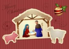 Vintage Christmas Card - Mary Joseph Jesus. Vector illustration of a vintage Christmas card with Mary, Joseph and baby Jesus in the manger with the animals Stock Photography