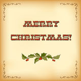 Vintage Christmas card. Merry Christmas lettering Stock Image