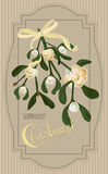Vintage Christmas card with mistletoe berry Royalty Free Stock Photo