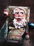 Vintage Christmas card with ornaments Stock Photos