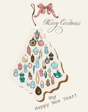 Vintage Christmas card pastel colors. Royalty Free Stock Images
