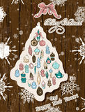Vintage Christmas card pastel colors. Vector illustration EPS10 Stock Photo