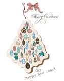 Vintage Christmas card pastel colors. Vector illustration EPS10 Stock Photography