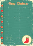 Vintage christmas card with present sock for text Stock Image