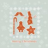 Vintage Christmas card retro collection christmas toys Stock Photos