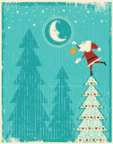 Vintage christmas card with Santa and nice moon.Ve Stock Images