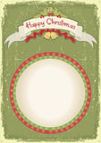 Vintage christmas card with scroll. And text celebration on old paper texture Royalty Free Stock Photo