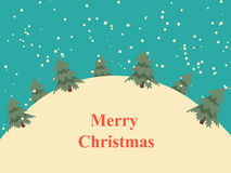Vintage Christmas card with snow hills and trees Royalty Free Stock Photo