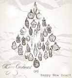 Vintage Christmas card with snowflakes. Royalty Free Stock Photo