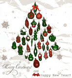 Vintage Christmas card with snowflakes. Stock Image