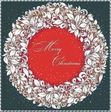 Vintage Christmas Card. Stylized pattern and snowflakes Stock Photos