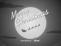 Vintage christmas card template. Classic hollywood. Movie ending style with santa claus flying with reindeer and full moon. Eps10 vector illustration Stock Images