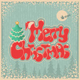 Vintage Christmas card with text on old paper Stock Images