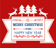 Vintage Christmas card with tree and ornaments. Xmas card Royalty Free Stock Images