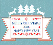 Vintage Christmas card with tree and ornaments Royalty Free Stock Images
