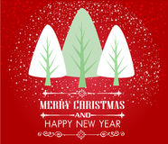 Vintage Christmas card with tree and ornaments Royalty Free Stock Photography
