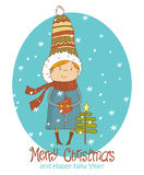 Vintage Christmas Card, vector with cute boy, gift and christmas tree. Greeting Christmas and New Year card Stock Images