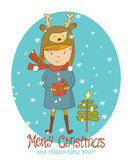 Vintage Christmas Card, vector with girl holding gift. Greeting Christmas and New Year card Stock Photo