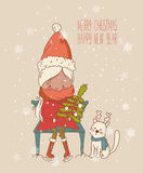 Vintage Christmas Card, vector with girl in red coat. Greeting Christmas and New Year card Stock Images