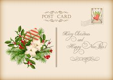 Vintage Christmas Card. Vintage vector card with holiday composition of the Christmas decorations Stock Photography