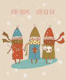 Vintage Christmas Card, vector with three kids. Greeting Christmas and New Year card Royalty Free Stock Photos