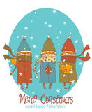 Vintage Christmas Card, vector with three kids. Greeting Christmas and New Year card Royalty Free Stock Images