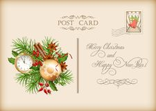 Vintage Christmas Card. Vintage vector card with holiday composition of the Christmas decorations Royalty Free Stock Photo