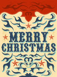 Vintage Christmas Card - western style Stock Photography