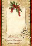 Vintage Christmas card with the wishes Royalty Free Stock Image