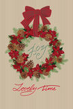 Vintage Christmas card with wreath of pine cones and puansetia Royalty Free Stock Photos