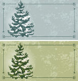 Vintage Christmas cards. With spruce in the snow Stock Photo