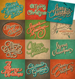 Vintage Christmas cards set (vector) Royalty Free Stock Image