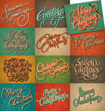 Vintage Christmas Cards Set (vector) Stock Images