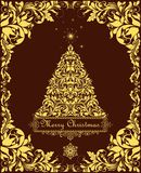Vintage Christmas card with cut out golden floral decorative border and xmas tree for label, templates, greeting card and other de. Vintage Christmas chocolate Royalty Free Stock Image