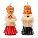 Vintage Christmas Choir Candles Isolated Stock Photos