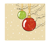 Vintage christmas color card with balls Stock Images