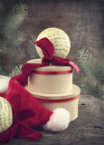 Vintage Christmas Composition with gift box and ornaments Royalty Free Stock Image