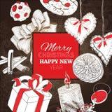Vintage Christmas Dark engraving card Royalty Free Stock Photos