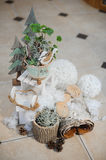 Vintage Christmas decor with flowers Royalty Free Stock Images