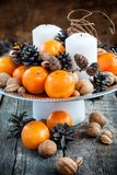 Vintage Christmas Decor for Table with Tangerines Stock Photo