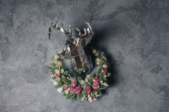 A vintage christmas decor on the wall stock photography