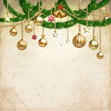 Vintage Christmas decorate against old paper texture background Stock Images