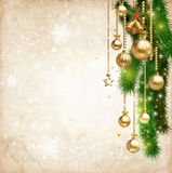 Vintage Christmas decorate against old paper texture background. And space for your text, illustration Stock Images